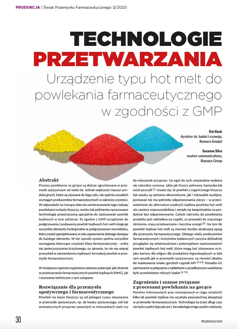 Romaco Innojet wŚwiat przemysłu farmaceutycznego